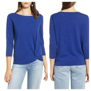 Halogen Blue Front Twist Sweater